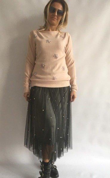 Sweter różowy w kwiatki