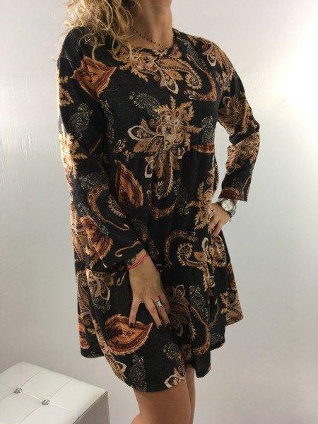 Świateczna sukienka czarna w miodowy wzór