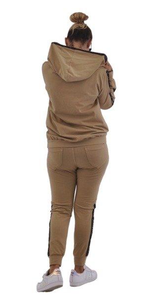 spodnie camelowe lampas napisy