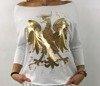 Bluzka biała ze złotym orłem.