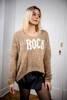 Oryginalny beżowy sweter z napisem ROCK