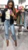 Spodnie jeansowe marszczone w talii XS